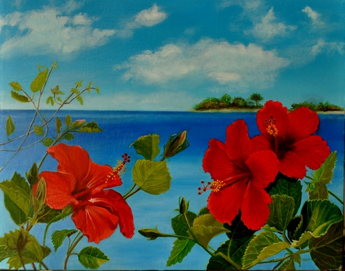 """""""Hibiscus"""" Oil on Canvas, 20"""" x 16"""" by artist Lola Stanton. See her portfolio by visiting www.ArtsyShark.com"""