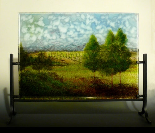 """Mountain Home"" Layered Glass Landscape, 17"" x 14"" by artist Steph Mader. See her portfolio by visiting www.ArtsyShark.com"