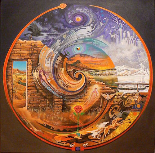 """""""Abiquiu Spiral"""" painting of heaven and earth by artist Sam Brown."""