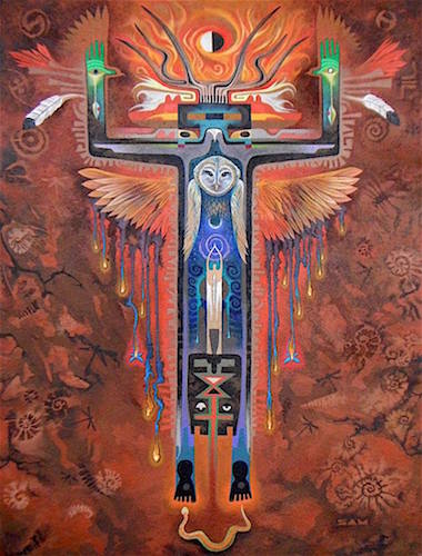 """Owl Prayer"" Acrylic and Sand, 36"" x 48"" by artist Sam Brown. See his portfolio by visiting www.ArtsyShark.com"
