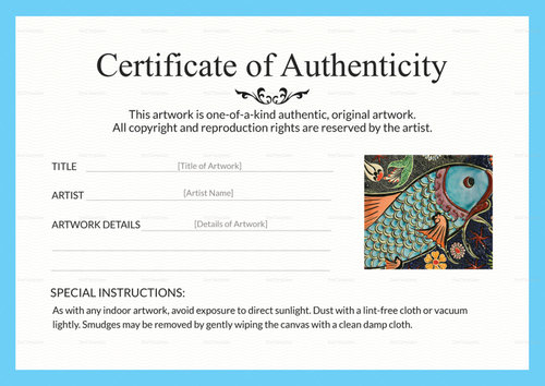 photo relating to Printable Certificate of Authenticity named Certificates of Authenticity for Artists Artsy Shark