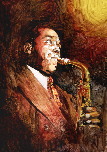 """Charlie Parker"" Mixed Media, 14"" x 20"" by artist Marcelo Neira. See his portfolio by visiting www.ArtsyShark.com"