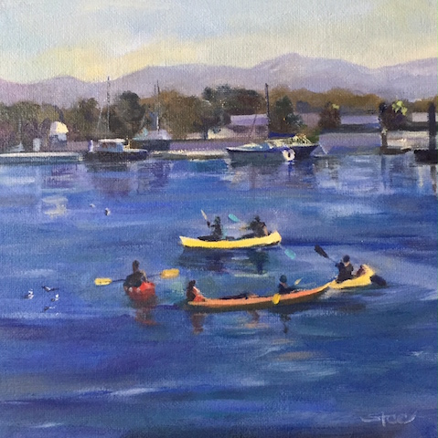 """Kayakers' Circle"" Oil on Board, 8"" x 8"" by Shannon Celia. See her portfolio by visiting www.ArtsyShark.com"