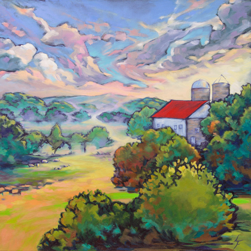 """After the Rain"" Oil on Linen, 24"" x 24"" by artist Leanne Fink. See her portfolio by visiting www.ArtsyShark.com"