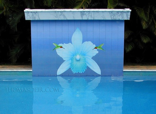 Orchid Pool Waterfall Wall Tile Mural by Thomas Deir.