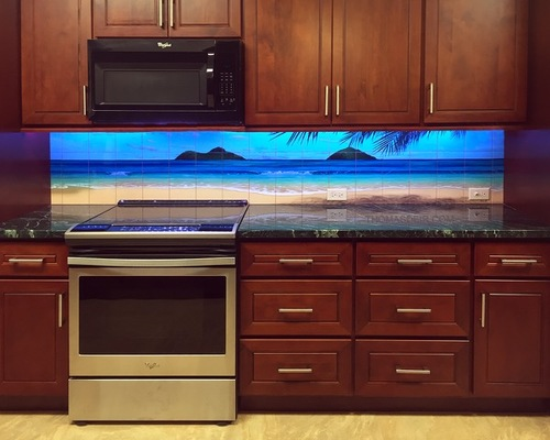 """Paradise Rainbow"" Kitchen Backsplash tile mural by Thomas Deir."