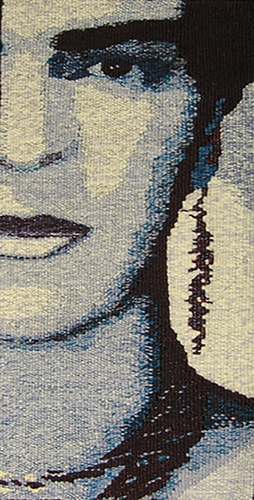 """Blue Frida II"" Tapestry, 10"" x 20"" by artist Barbara Burns. See her portfolio by visiting www.ArtsyShark.com"