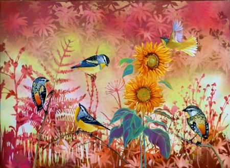 """Pardalotes"" Aerosol and Oil on Canvas, 61cm x 51cm by artist Susan Skuse. See her portfolio by visiting www.ArtsyShark.com"