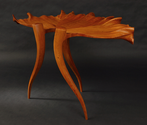 """Sun Valley Leaf Hall Table"" Cherry, 30"" x 50"" x 27"" by artist Mark Levin. See his portfolio by visiting www.ArtsyShark.com"