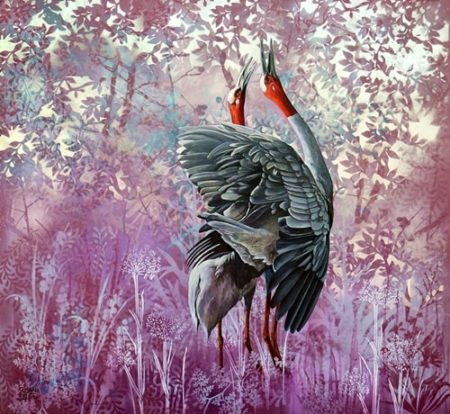 """Duet"" (Sarus Cranes) Aerosol and Oil on Coffered Panel, 92cm x 83cm by artist Susan Skuse. See her portfolio by visiting www.ArtsyShark.com"