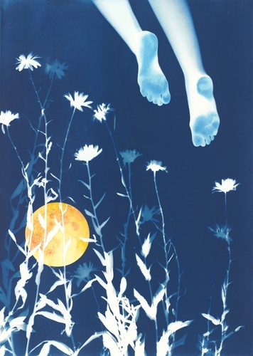 """Flying Dream"" Cyanotype with Watercolor, 29.5"" x 41"" by artist Linda Clark Johnson. See her portfolio by visiting www.ArtsyShark.com"
