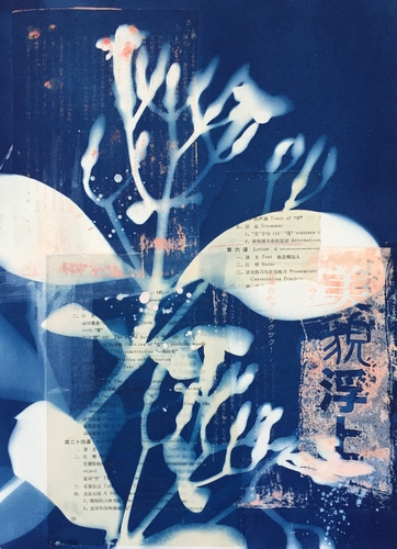 """Kahaku Makani"" Cyanotype with Collage and Acrylic, 11"" x 15"" by artist Linda Clark Johnson. See her portfolio by visiting www.ArtsyShark.com"