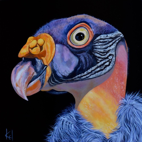 """""""King Vulture"""" Acrylic, 20"""" x 20"""" by artist Kelly Moran. See her portfolio by visiting www.ArtsyShark.com"""