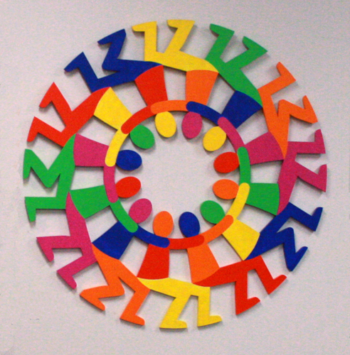 """Support Circle Rainbow"" (Cook Children's Medical Ctr, Fort Worth, TX) Painted Wood, 42"" x 42"" x 1"" by artist Peter Michel. See his portfolio by visiting www.ArtsyShark.com"