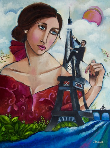 """She Dreams in French"" Oil on Canvas, 18"" x 24"" by artist Jennifer Yoswa. See her portfolio by visting www.ArtsyShark.com"