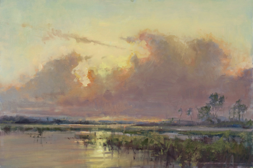 """Summer Sunset"" Oil on Canvas, 36"" x 24"" by artist Mary Garrish. See her portfolio by visiting www.ArtsyShark.com"