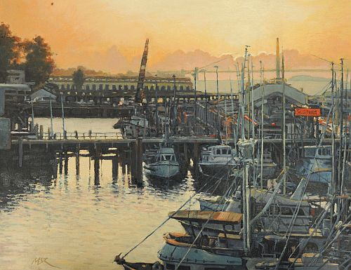 """Sunset at the Pier"" Oil on Canvas, 18"" x 14"" by artist Mason Mansung Kang. See his portfolio by visiting www.ArtsyShark.com"