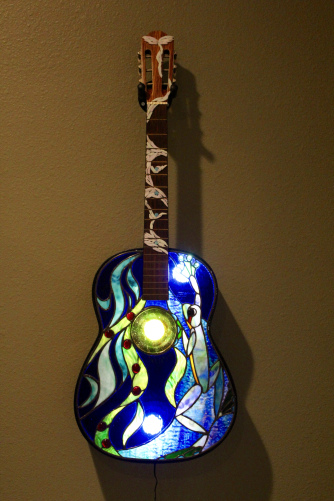 """Frog Guitar"" Stained Glass and Copper Foil, 15"" x 39"" by artist Mark McCall. See his portfolio by visiting www.ArtsyShark.com"
