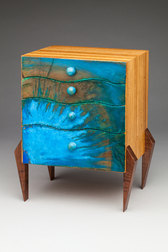 """Splash Box"" (Study for Full-Size Chest of Drawers) Black Walnut Legs, Zebrawood Body and Interior Drawers with Dividers made of Aromatic Cedar and Painted Drawer Front, 8"" x 7"" x 10"" by artist Peter Judge. See his portfolio by visiting www.ArtsyShark.com"