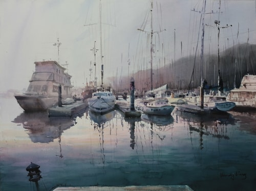 """""""Daybreak, California"""" Watercolor, 22"""" x 18"""" by artist Wendy Liang. See her portfolio by visiting www.ArtsyShark.com"""