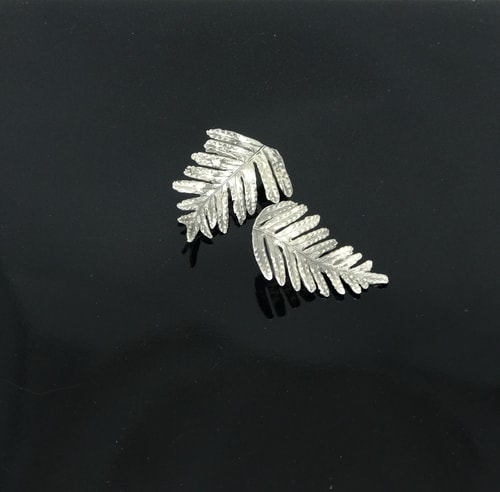 """Sterling Silver Resurrection Fern Earrings"" Lost Wax Cast Sterling Silver Post Earrings, 1.5"" Long by artist JoAnn Graham. See her portfolio by visiting www.ArtsyShark.com"