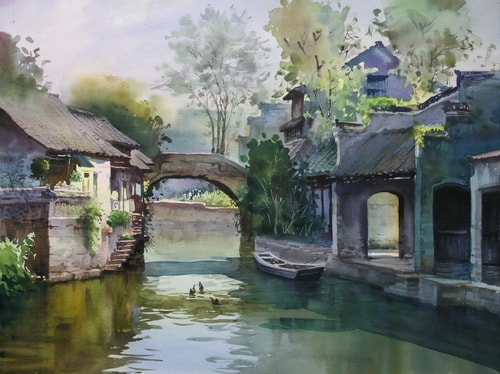 """""""Traditional Residence, Suzhou, China, 22"""" x 18"""" by artist Wendy Liang. See her portfolio by visiting www.ArtsyShark.com"""