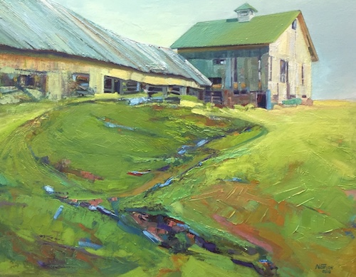 """Seeking Repose, Greenbacker Barn, Durham, CT"" Oil, 30"" x 24"" by artist Aleta Gudelski. See her portfolio by visiting www.ArtsyShark.com"