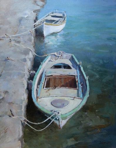 """Boats in Crete"" Oil, 16"" x 20"" by artist Deborah Tilby. See her portfolio by visiting www.ArtsyShark.com"