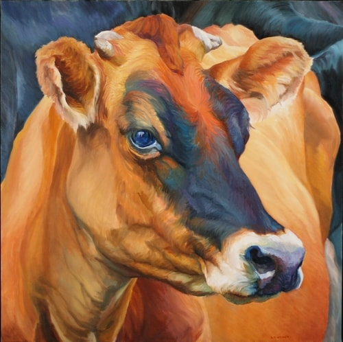 """Jersey Beauty"" Oil, 30"" x 30"" by artist Diane Weiner. See her portfolio by visiting www.ArtsyShark.com"