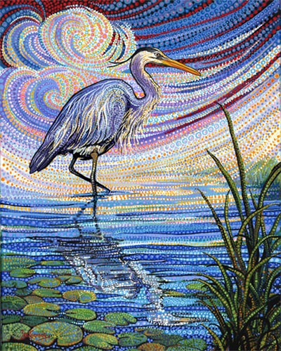 """Blue Heron"" Acrylic on Canvas, 16"" x 20"" by artist Ira Kennedy. See his portfolio by visiting www.ArtsyShark.com"