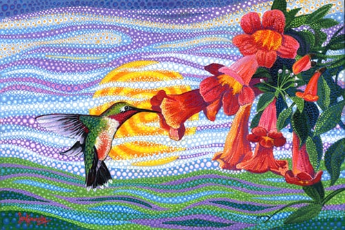 """Crossvine Hummingbird"" Acrylic on Canvas, 30"" x 20"" by artist Ira Kennedy. See his portfolio by visiting www.ArtsyShark.com"