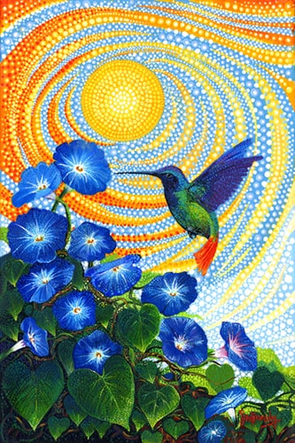 """Morning Glory Hummingbird"" Acrylic on Canvas, 30"" x 20"" by artist Ira Kennedy. See his portfolio by visiting www.ArtsyShark.com"