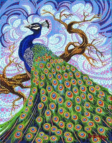 """Peacock"" Acrylic on Canvas, 16"" x 20"" by artist Ira Kennedy. See his portfolio by visiting www.ArtsyShark.com"