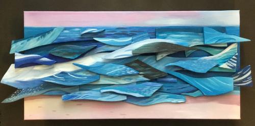 Mixed media assemblage of an ocean scene by artist Katia Bulbenko.