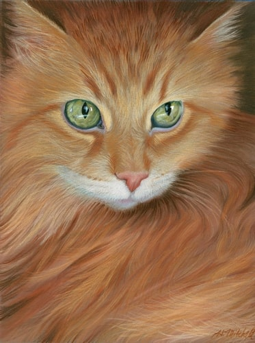 """Arts Cat"" Colored Pencil and Panpastel, 9"" x 12"" by Artist Heather Mitchell. See her portfolio by visiting www.ArtsyShark.com"