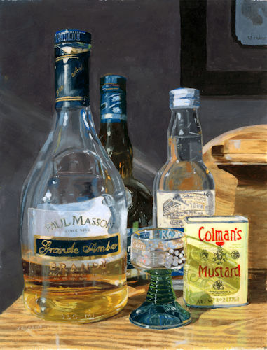 """""""Cocktails and Mustard"""" Acrylic, 10"""" x 13"""" by Artist Lynne Reichhart, See her portfolio by visiting www.ArtsyShark.com"""