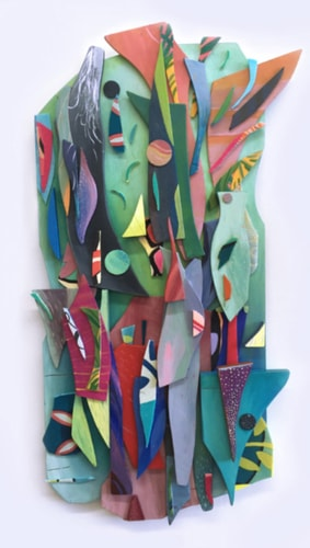 Colorful abstract mixed media assemblage by artist Katia Bulbenko