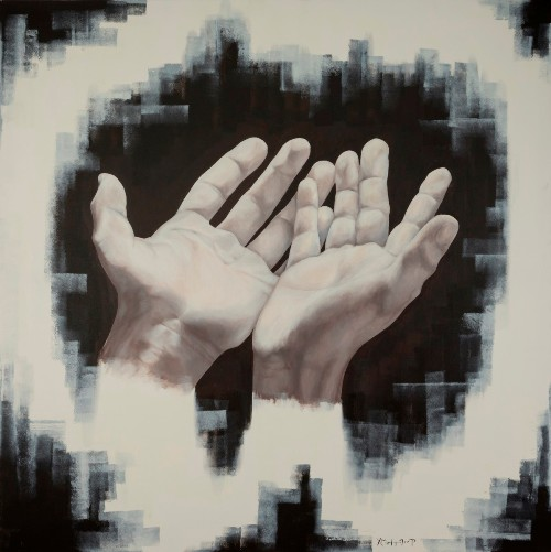 """Hands 1"" Acrylic on Canvas, 150cm x150cm by artist Christina Michalopoulou. See her portfolio by visiting www.ArtsyShark.com"