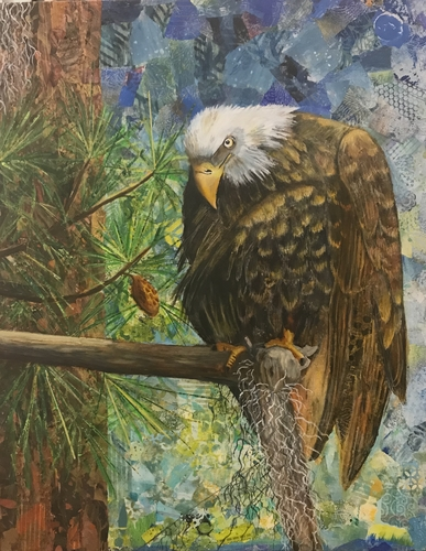 """The Eagle has Landed"" Mixed Media Collage, 22"" x 28"" by artist Susan Hurwitch. See her portfolio by visiting www.ArtsyShark.com"