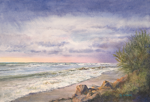"""Sunset Shoreline"" Watercolor on Paper, 22"" x 15"" by artist Renee St. Peter. See her portfolio by visiting www.ArtsyShark.com"