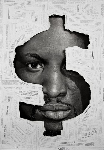 """The Value of Nothing I"" Charcoal and Paper Collage on Paper, 52"" x 60"" by artist Ken Nwadiogbu. See his portfolio by visiting www.ArtsyShark.com"