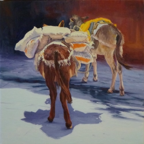 """Burros"" Oil on Canvas, 20"" x 20"" by artist Rose Hohenberger. See her portfolio by visiting www.ArtsyShark.com"