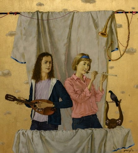 """""""Flutist and Mandolin Player"""" (From Series Anthem to Creativity) Oil on Linen, 64"""" x 70"""" by Artist Tatjana Palcuka. See her portfolio by visiting www.ArtsyShark.com"""