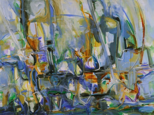 """Regatta"" Mixed Media on Canvas, 40"" x 30"" by artist Suzanne Yurdin. See her portfolio by visiting www.ArtsyShark.com"