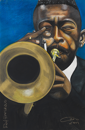 """Roy Hargrove"" Ink, Watercolor, Pastel, Pencil and Conte on Paper, 25"" x 37"" by artist Carl H. Bradford. See his portfolio by visiting www.ArtsyShark.com"
