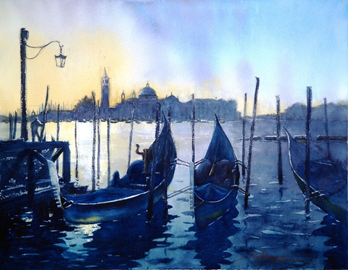"""Gondolas at Sunrise"" Watercolor, 14"" x 10"" by artist Sandra Pearce. See her portfolio by visiting www.ArtsyShark.com"