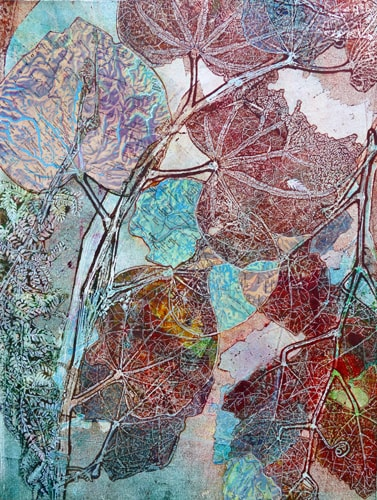 """Analogy IV"" Monoprint with Mixed Media, 11"" x 15"" by artist Sharmon Davidson. See her portfolio by visiting www.ArtsyShark.com"