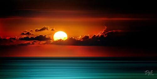 """Fire on Horizon"" Photography, 72"" x 24"""