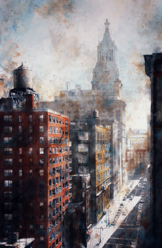 """Irving Place, Con Ed Tower"" Watercolor, 26"" x 40"""