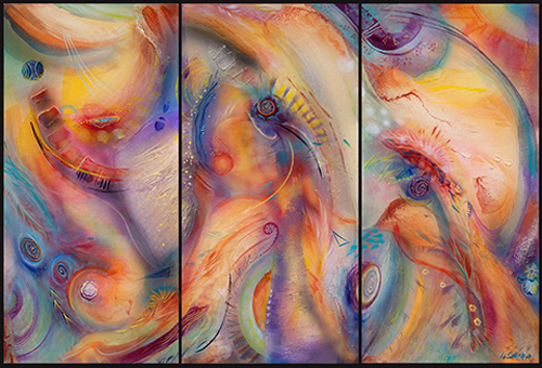 "Triptych of abstract art, large oil painting titled ""Cosmic Breath"" by Ushana Mara"